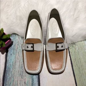TODS Tan White Leather Buckle Loafers